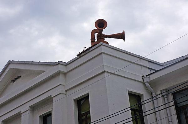 昭和18年建設の第一術科校舎の拡声器