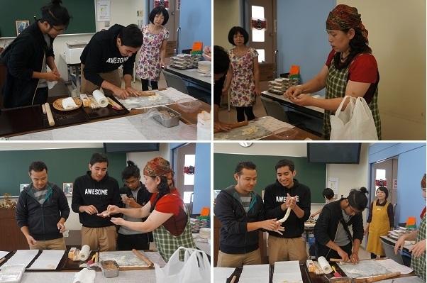 マレーシアからの留学生も、手作り餃子に初挑戦の様子