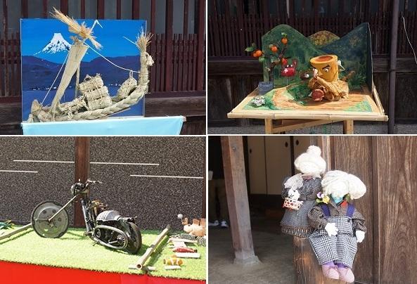 左上は藁細工で作られた力作、右上はサルかに合戦、左下は歯車などを利用したオートバイ、右下は丁寧な作られたお人形