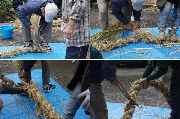 左上・取り分けておいたワラを2本編みに編み込む始め部分、右上・ワラを足しながらの巻き込み、左下・一つおきに縄を編み込みん出る様子、右下・3本を編み終えて形を整えているところ