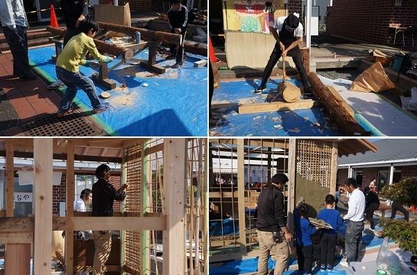 家づくり体験ブース 左上・丸木でノコギリ体験、右上・「ちょうな」を使う大工さん、左下・コマイ壁の竹を組む左官職人さん、右下・土壁塗りを体験してる様子