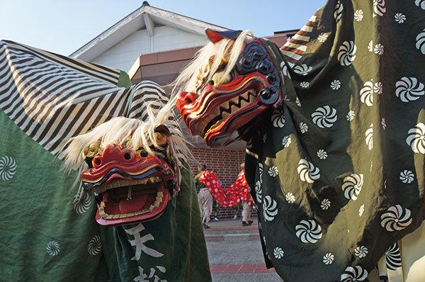 四神社の獅子舞合同演舞より、お獅子のアップ