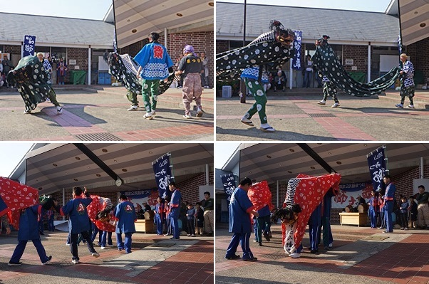 上・七曲神社獅子舞保存会、下・朝日塾中等学校の生徒による獅子舞
