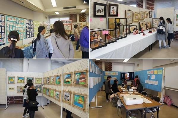 教室 左上・絵手紙教室、右上・木目込み人形、左下・御津小学校生徒の絵画、右下・パソコン教室の名刺作り体験
