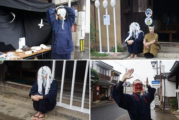 仮面作家・岩本雄基さんの作品 左上・展示ブースの様子、右上・ダンスパフォーマー山口氏の狐と、左下・狐の相方のあまのじゃく? 右下・新作のもう一つの狐のお面
