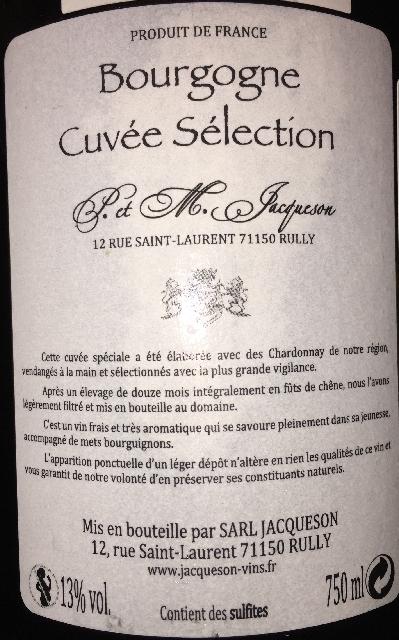 Bourgogne Cuvee Selection S et M Jacqueson 2015 part2