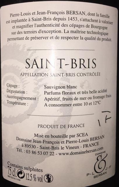 Saint Bris Sauvignon J F Bersan 2015 part2