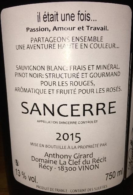 Sancerre Anthony Girard Domaine La Clef du Recit 2015 part2