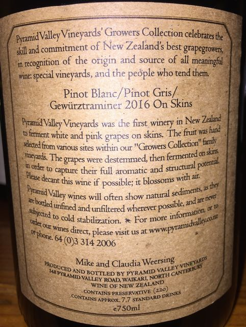 Pyramid Valley Vineyard Pinot Blanc Pinot Gris Gewurztraminer On Skins Mike and Claudia Weersing 2016 part2