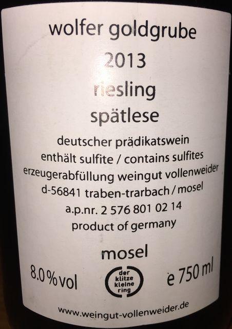 Wolfer Goldgrube Riesling Spatelese Vollenweider 2013 part2