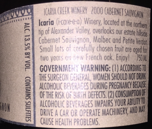 Icaria Creek Winery Cabernet Sauvignon 2000 part2