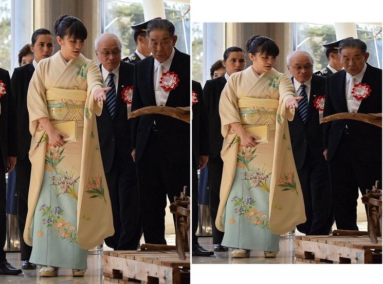 ・ニセモノ平成28年9月9日(金)移住80周年記念式典を終えられ物産展をご視察される眞子様、お着物の模様がよく見えるショット
