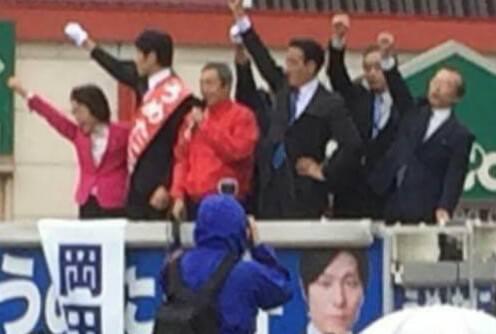 【梅谷守衆議院候補の街頭演説会 かに池交差点にて】-2