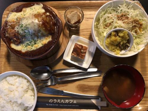 のうえんカフェ(ロールキャベツグラタンセットと鶏のから揚げ)